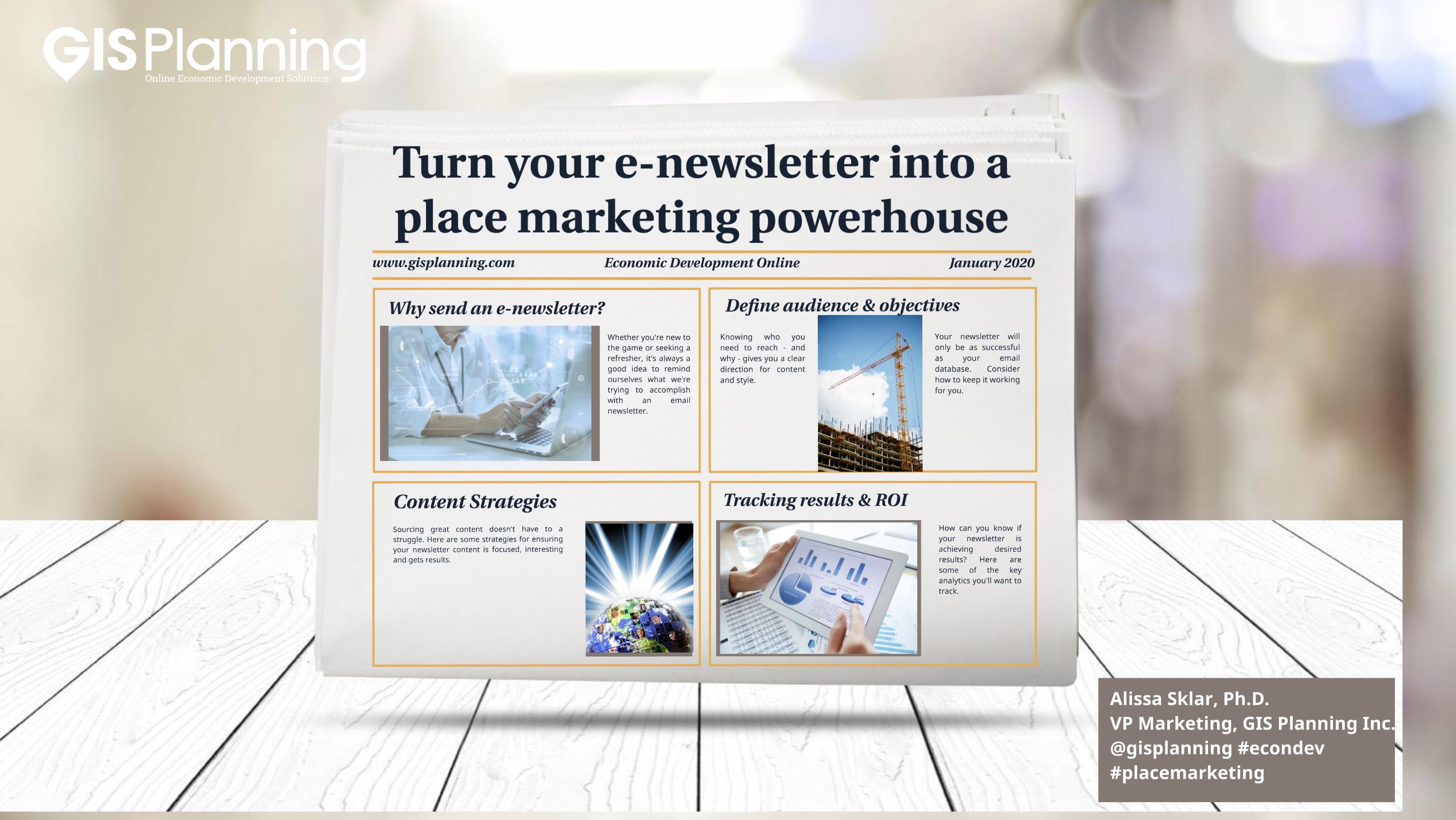 Email newsletter webinar slide one.